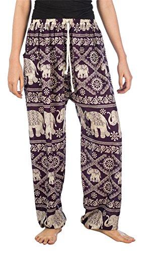 Lofbaz Mujer Tailandés Elefantes Cordón Harén Boho Pantalones Morado Oscuro M
