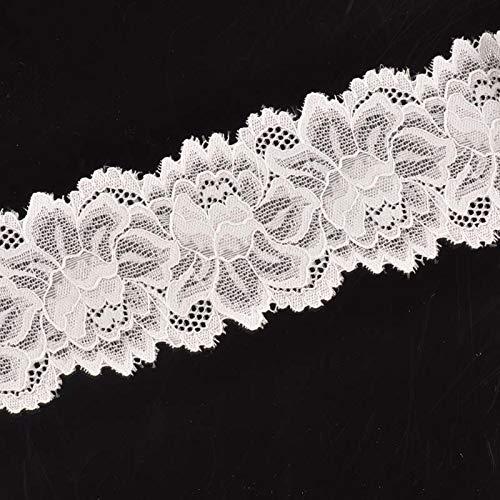 6,5 cm ancho patrón de flor blanco elástico bordado encaje tela ajuste de la cinta para la decoración de la boda 3 yardas/lote DIY CP1984