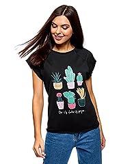 Idea Regalo - oodji Ultra Donna T-Shirt con Stampa Estiva e Orlo Grezzo, Nero, IT 46/EU 42/L
