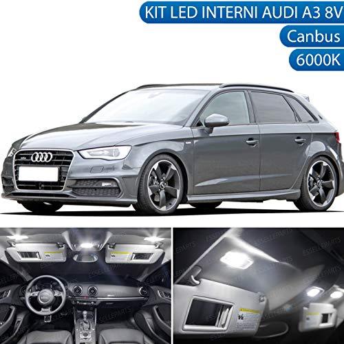 ESSELLE PARTS Kit LED Interni Completo SPECIFICO per Audi A3 8V 8VA CONVERSIONE Interna Completa 6000K CANBUS