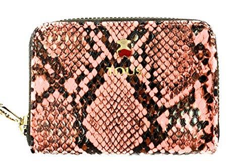 Monedero - tarjetero TOUS, colección dorp wild en color serpiente rosa, de vinilo efecto piel, 3 compartimentos y 2 planos, cierrre con cremallera,medidas : 8 x 10,5 x 2,5 cm.