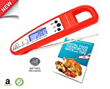 Digital Cooking Thermometer W/ Probe & FREE Ebook sent via e-mail| The Best Electronic Internal Meat/ Candy Thermometer W/ Instant Reading| Ideal For BBQ, Smokers, Grill, Oven Kitchen Cooking| Professional Quality