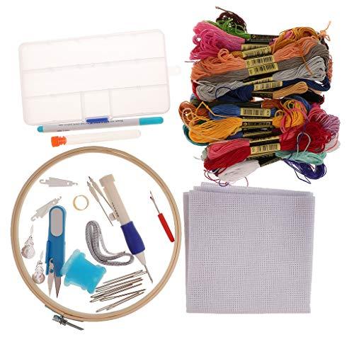 P Prettyia Stickerei Set Kreuzstich Set Stickgarn Kit mit 50 Farbe Fäden und Stickrahmen Aida Stoff und Stickzubehör Set