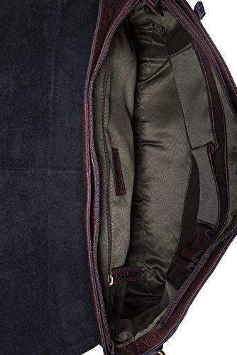LEABAGS Oxford Umhängetasche aus echtem Büffel-Leder im Vintage Look - Muskat Merlot