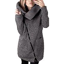 Covermason Mujer Irregular Cremallera Manga Larga Ropa de Abrigo Moda Sudaderas