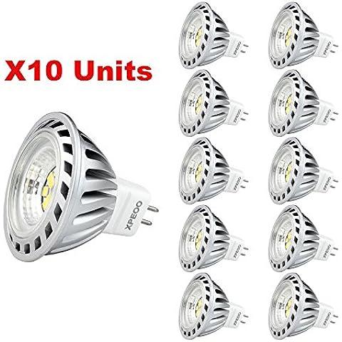 Xpeoo® 10 X 6W MR16 GU5.3 LED Bombilla Lámpara Igual a Halógena de 50W 520lm, Foco Luz Spot Down light lamp bulbs, Luz Blanco Frío Diurno 4500k, DC AC 12v,Bajo Consumo [Clase de eficiencia energética
