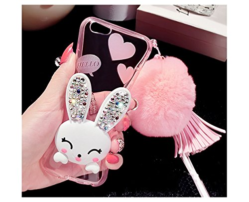 "Sunroyal Dünn Durchsichtig Transparent Silikon Gel Hülle Rückseite Zurück für iPhone 6 Plus iPhone 6S Plus 5.5"" Schutz Tasche Etui Aus TPU Silikon halter falten Diamant Cartoon Rabbit Ear Smile Bunny  Lila"