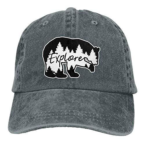 Preisvergleich Produktbild ASKYE Mens / Womens Explore Bear Cotton Denim Baseball Cap Adjustable Hat