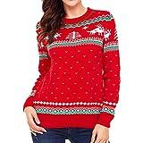 JUTOO Frauen Weihnachten Langarm Oansatz Print Langarm Sweatshirt Bluse(rot,Medium)