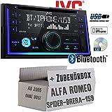 Alfa Romeo 159 Spider Brera Navi - Autoradio Radio JVC KW-R930BT - CD Bluetooth Android Apple MP3 USB - Einbauzubehör - Einbauset