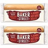 4 x Jumbo Hot Dog Rolls Baker Street Bread 320g (Pack of 2)