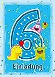 12 Einladungskarten zum 6. Kindergeburtstag blau / Einladungen zum sechsten Geburtstag / bunte und lustige Karten zum Geburtstag für Mädchen und Jungen