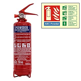 1kg Powder Fire Extinguisher with Photoluminescent ID Sign with 10 Year Warranty. Premium A2Z Fire Manufactured Extinguisher for Use at Home, in Vehicles such as Cars or Vans, Boats & Caravans