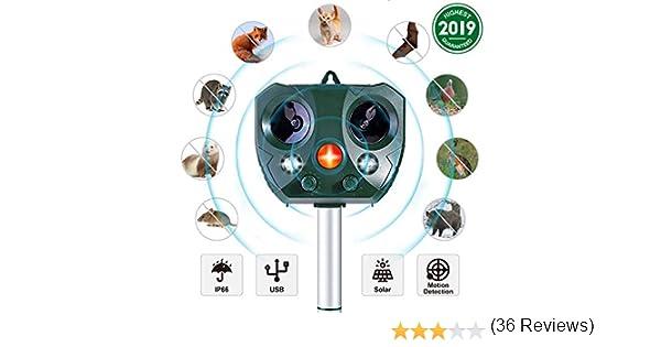 Yikaich R/épulsif /à Ultrasons Solaire Exterieur pour Animaux//Oiseaux//Chats//Chiens avec 5 Fr/équence R/églable Protection de Jardin