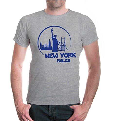 buXsbaum® T-Shirt New York Rules Silhouette Heathergrey-Royal