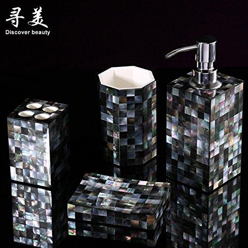 caparazon-negro-cinco-piezas-suit-bathroom-toiletries-locion-botella-de-desinfectante-para-a-botella