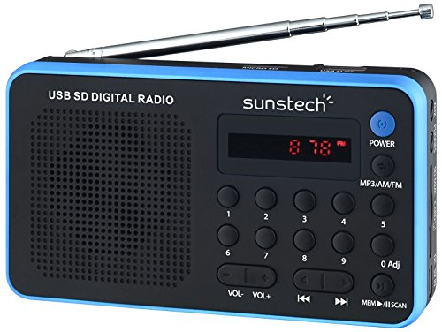 Sunstech RPDS32BL - Radio portátil digital AM/FM