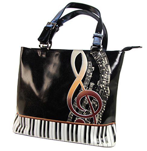 Shagwear borsa larga per giovani donne shopper , Large Tote Bag : tastiera nero/ Keyboard Melody
