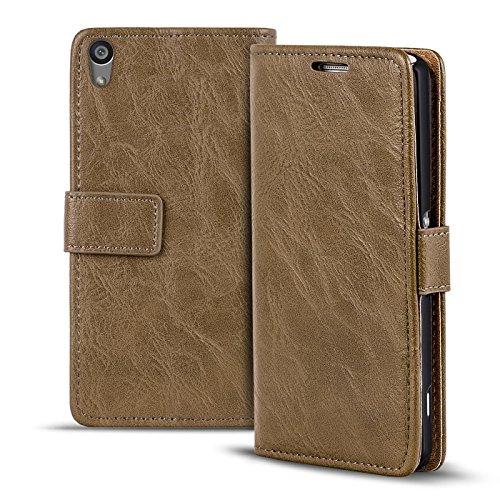 Verco Xperia M4 Aqua Hülle, Premium Handy Schutzhülle für Sony Xperia M4 Aqua Hülle PU Leder Wallet Tasche Retro Flipcase, Mocca