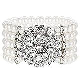ArtiDeco 1920s socken Perlen Damen Gatsby Kostüm Zubehör Blinkende Kristall Armreif 20er Jahre Accessoires für Damen (Stil 3-Silber)