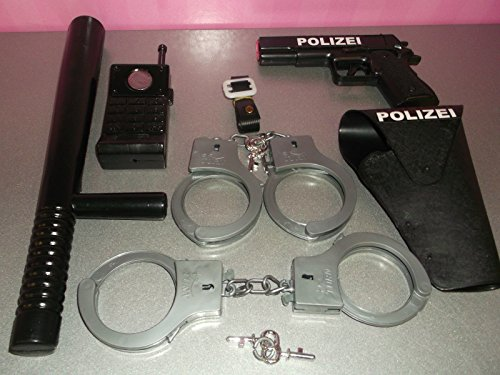 KSS Polizei Mega Set 9-teilig ! Pistole, Halfter und Handschellen Karneval SWAT Neu