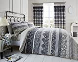 Duvet Cover Set King Size Kingsize With Pillowcases Quilt Bedding Set Reversible Printed Poly Cotton , Reverie Grey