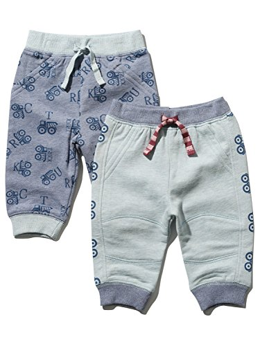 M&Co Baby Boy Cotton Rich Blue Full Length Truck Print Stretch Waist Cuffed Ankle Joggers Two Pack Navy 0/3 Mnths