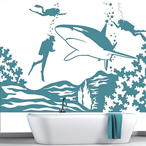 azutura Hai Wandaufkleber Szene Unter dem Meer Wandtattoo Kinder Badezimmer Haus Dekor verfügbar in 5 Größen und 25 Farben Mittel Ozean Blau (Ozean-szenen Wandtattoos)
