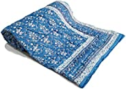 BLOCKS OF INDIA Cotton Malmal Hand Block Printed Single Size Reversible Summer Dohar (Blue White)