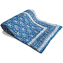 BLOCKS OF INDIA Cotton Voile Single Size Jaipuri Hand Block Print Malmal Quilt For Light Winters (60x90 Inches) (Blue Reversible)
