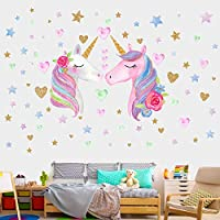 AIYANG Unicorn Wall Decals Unicorn Wall Sticker Birthday Gifts Presents for Girls Kids Room Decor (Unicorn,Stars,Hearts)