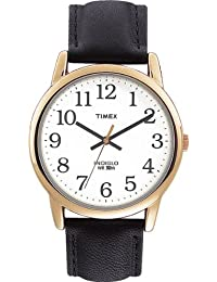 Timex Men's T20491 Quartz Easy Reader Watch with White Dial Analogue Display and Black Leather Strap
