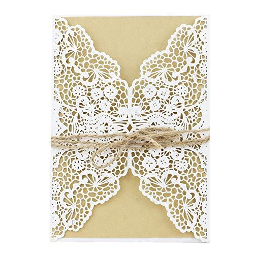 shinejoy 20Stück elfenbeinfarben Classic Style Laser geschnitten Hochzeit Einladungen Karten für Marriage Verlobung Geburtstag Bridal Dusche Floral-White (Dusche Bridal Elegante Einladungen)