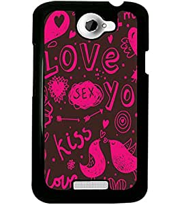 ColourCraft Love Pattern Design Back Case Cover for HTC ONE X