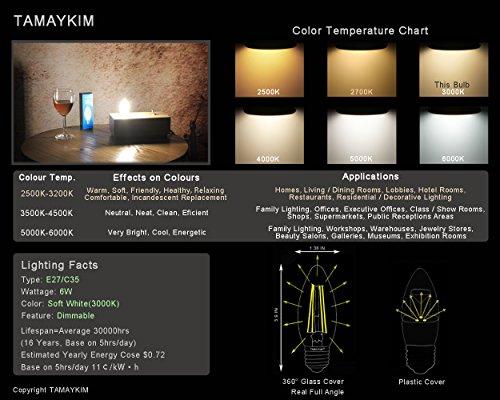 TAMAYKIM C35 6W Dimmbar Glühfaden LED Kerze Lampe, 3000K Warmweiß 600 Lumen, 60W Entspricht Glühlampe, E27 Fassung, Torpedo Form, 360° Abstrahlwinkel, 3er-Pack - 3