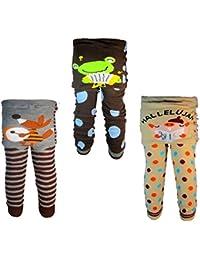 Backbuy 3 pantalones 0-24 meses para bebés niños leggings pantalones de punto B2B3B4