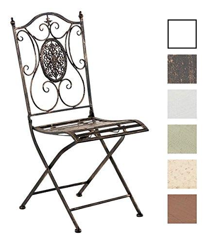 CLP Eisen Garten-Stuhl SIBELL, Metall-Stuhl klappbar, Dehsign nostalgisch antik bronze