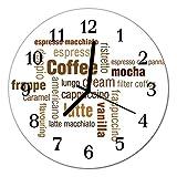 Glasuhr von DekoGlas 30cm runde Bilderuhr aus Acrylglas mit lautlosem Quarzuhrwerk Glaswanduhr Dekouhr Uhr Wanduhren aus PMMA Küchenuhr Glasbilder Wanddekoration Kaffee braun