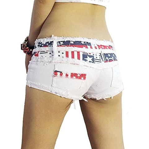 Wgwioo Shorts Cut Off Niedrige Taille Shorts Frauen Mini Kurze Jeans Hot Pants Denim Nacht Club Quaste Splice Zerrissenen Frauen Sommer Clubwear . White . (Hot Pink Thread)