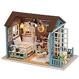 Decdeal Case delle Bambole,Fai da Te in Miniatura Casa delle Bambole Kit,Mini 3D Casa in Legno con Mobili Luci A LED Regalo di Compleanno di Natale (Mori Blu Time)