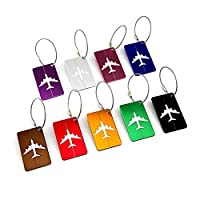 ESport 9 Pieces Rectangular Aluminium Alloy Travel Luggage Tags, Airlines Travel Baggage Labels Tags