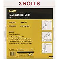 Davies - Tiras de espuma para clima – 3 rollos de burlete para ventanas y puertas