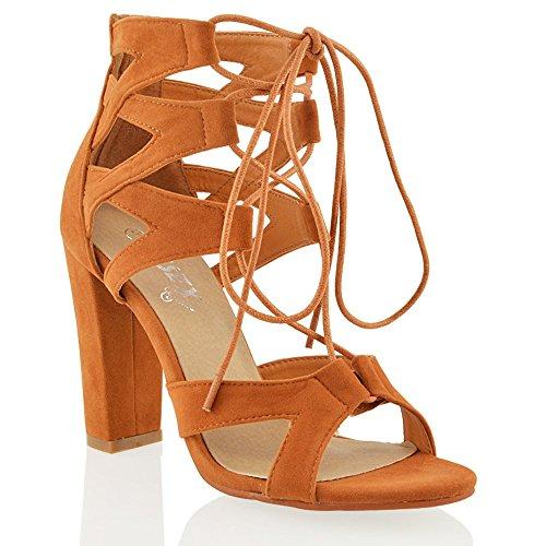 Essex Glam Sandalo Donna Sintetico Cut-out con Lacci Abbronzatura Ecopelle Scamosciata
