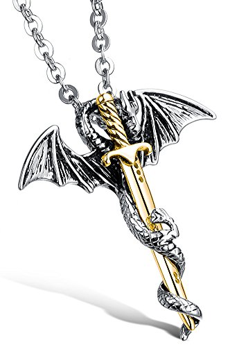 Doitory Men Stainless Steel Dragon Sword Wings Chain Pendant Necklace