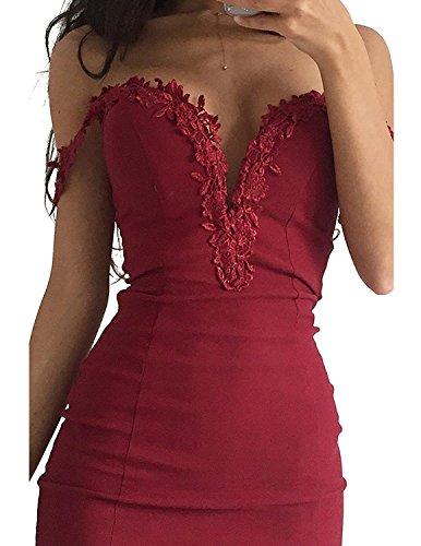 CARINACOCO Donna Vestiti Scollo a V Cuciture Pizzo Abito Senza Spalline Abiti Vestito da Matrimonio Banchetto Sera Rosso