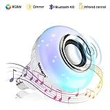 Texsens Bluetooth 4.0 LED Smart Lampe Farbwechsel Glühlampe Musik Glühbirne E27 6W Lautsprecher Birne Dimmbare RGB Licht Als Alexa Echo-Lautsprecher mit Fernbedienung für iOS und Android