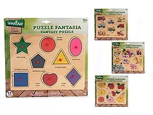 Globo Juguetes Globo-3662529,8x 22,4x 0,8cm, 4Surtidos Legnoland Puzzle de Madera con Pins