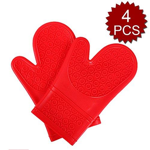Aspire 4 pcs de cuisine en silicone Gants, gants de cuisine avec poignée antidérapante, Red, Taille unique
