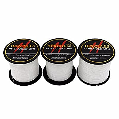 100m 109yds White 6lbs-100lbs Hercules Pe Dyneema Braid Fishing Line 4 Strands by Herculespro.com