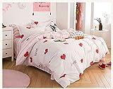 Girls' Bett, rosa Bettwäsche, einer ausgestatteten vier Stück Baumwolle, reine Baumwolle, reine Baumwolle, Sommer, amerikanische, europäische, amerikanische, koreanische und Princess Wind, ein Tanz der Herzen, 1,8 m (6 Fuß) Bett